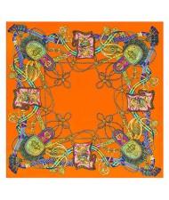 Royal Tassel Unique Design High Fashion Artificial Silk Square Women Scarf - Orange