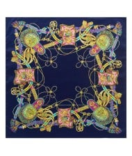 Royal Tassel Unique Design High Fashion Artificial Silk Square Women Scarf - Royal Blue