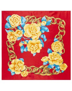 Gold Chain Prosperous Roses Embellished Classic Design Fashion Women Square Scarf - Red
