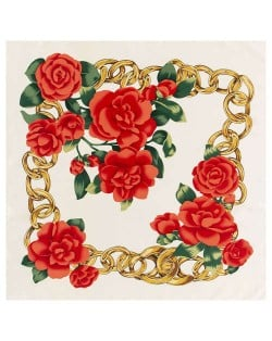 Gold Chain Prosperous Roses Embellished Classic Design Fashion Women Square Scarf - White