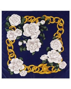 Gold Chain Prosperous Roses Embellished Classic Design Fashion Women Square Scarf - Ink Blue