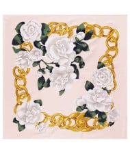 Gold Chain Prosperous Roses Embellished Classic Design Fashion Women Square Scarf - Pink