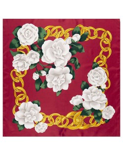 Gold Chain Prosperous Roses Embellished Classic Design Fashion Women Square Scarf - Wine Red