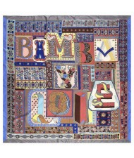Assorted Alphabets Element Puzzle Design U.S. and European Fashion Women Square Scarf - Gray