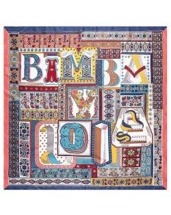 Assorted Alphabets Element Puzzle Design U.S. and European Fashion Women Square Scarf - Sky Blue