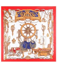 Royal Fashion Rudder and Carriage Combo Design Artificial Silk Square Women Scarf - Red