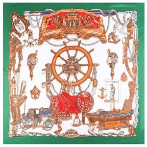 Royal Fashion Rudder and Carriage Combo Design Artificial Silk Square Women Scarf - Green
