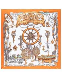 Royal Fashion Rudder and Carriage Combo Design Artificial Silk Square Women Scarf - Orange