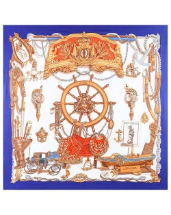 Royal Fashion Rudder and Carriage Combo Design Artificial Silk Square Women Scarf - Royal Blue