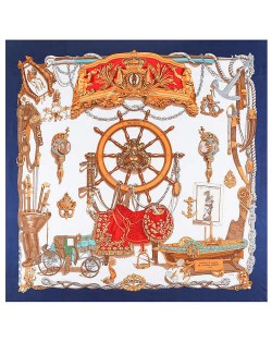 Royal Fashion Rudder and Carriage Combo Design Artificial Silk Square Women Scarf - Ink Blue
