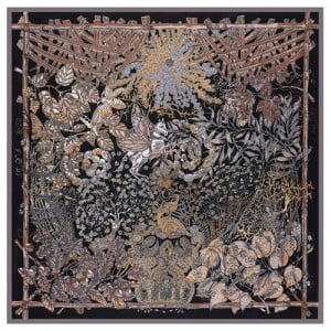 Forest and Animals Artistic Design High Fashion 130*130 cm Artificial Silk Square Women Scarf - Black