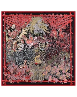 Forest and Animals Artistic Design High Fashion 130*130 cm Artificial Silk Square Women Scarf - Wine Red
