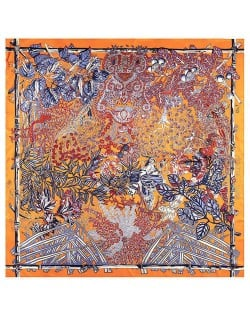 Forest and Animals Artistic Design High Fashion 130*130 cm Artificial Silk Square Women Scarf - Orange