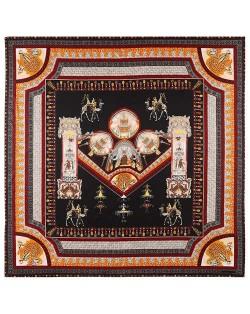 Vintage Court Style Camel Pattern Women Artificial Silk Square Scarf - Black