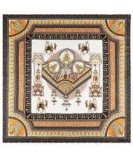 Vintage Court Style Camel Pattern Women Artificial Silk Square Scarf - White