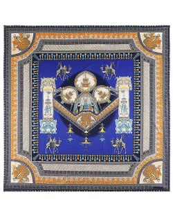 Vintage Court Style Camel Pattern Women Artificial Silk Square Scarf - Royal Blue