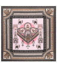 Vintage Court Style Camel Pattern Women Artificial Silk Square Scarf - Pink