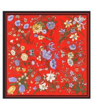 Assorted Prosperous Floral Pattern Fashion Design 130*130 cm Artificial Silk Square Women Scarf - Red