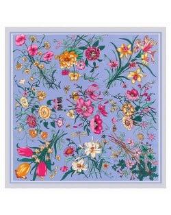 Assorted Prosperous Floral Pattern Fashion Design 130*130 cm Artificial Silk Square Women Scarf - Blue