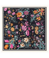 Assorted Prosperous Floral Pattern Fashion Design 130*130 cm Artificial Silk Square Women Scarf - Black