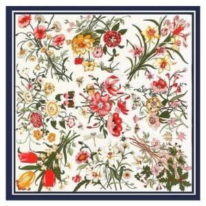 Assorted Prosperous Floral Pattern Fashion Design 130*130 cm Artificial Silk Square Women Scarf - White