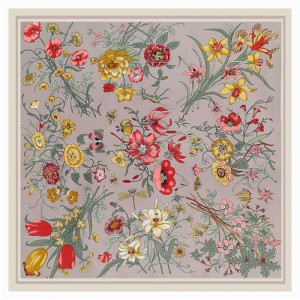 Assorted Prosperous Floral Pattern Fashion Design 130*130 cm Artificial Silk Square Women Scarf - Gray