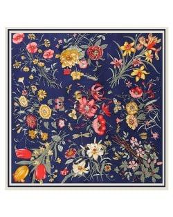 Assorted Prosperous Floral Pattern Fashion Design 130*130 cm Artificial Silk Square Women Scarf - Ink Blue