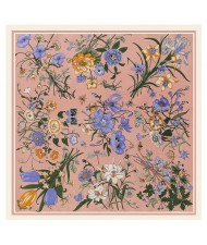 Assorted Prosperous Floral Pattern Fashion Design 130*130 cm Artificial Silk Square Women Scarf - Pink