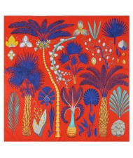 Various Forest Plants Pattern Design Autumn Fashion Artificial Silk Women Square Scarf - Red