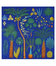 Various Forest Plants Pattern Design Autumn Fashion Artificial Silk Women Square Scarf - Blue