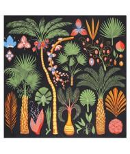 Various Forest Plants Pattern Design Autumn Fashion Artificial Silk Women Square Scarf - Black