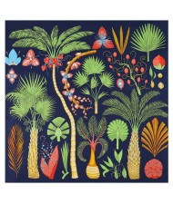 Various Forest Plants Pattern Design Autumn Fashion Artificial Silk Women Square Scarf - Ink Blue