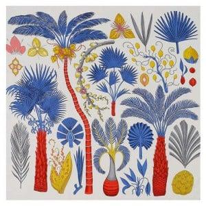 Various Forest Plants Pattern Design Autumn Fashion Artificial Silk Women Square Scarf - White