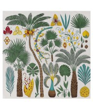 Various Forest Plants Pattern Design Autumn Fashion Artificial Silk Women Square Scarf - Beige