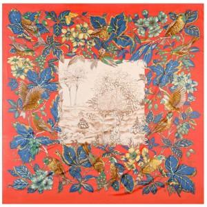 Pastoral Design Women Artificial Silk Square Scarf - Red