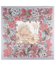 Pastoral Design Women Artificial Silk Square Scarf - Gray