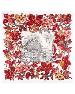 Pastoral Design Women Artificial Silk Square Scarf - White