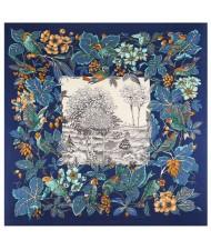 Pastoral Design Women Artificial Silk Square Scarf - Ink Blue