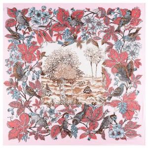 Pastoral Design Women Artificial Silk Square Scarf - Pink