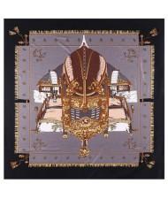 Royal Tent Design European Fashion 130*130 cm Women Square Scarf - Black