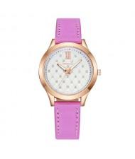 Rhombous Shape Grid Rhinestone Embellished High Fashion Scaleless Design Women Wrist Watch - Pink