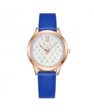 Rhombous Shape Grid Rhinestone Embellished High Fashion Scaleless Design Women Wrist Watch - Blue