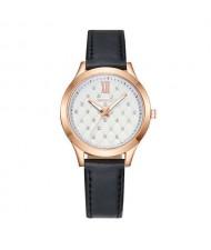 Rhombous Shape Grid Rhinestone Embellished High Fashion Scaleless Design Women Wrist Watch - Black