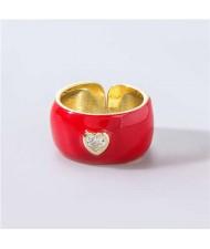 Vintage Rhinestone Inlaid Peach Heart U.S. High Fashion Women Oil-spot Glazed Wholesale Ring - Red