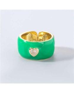 Vintage Rhinestone Inlaid Peach Heart U.S. High Fashion Women Oil-spot Glazed Wholesale Ring - Green