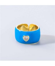 Vintage Rhinestone Inlaid Peach Heart U.S. High Fashion Women Oil-spot Glazed Wholesale Ring - Blue