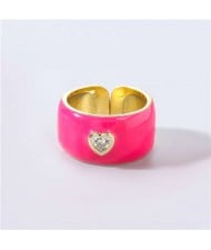 Vintage Rhinestone Inlaid Peach Heart U.S. High Fashion Women Oil-spot Glazed Wholesale Ring - Rose