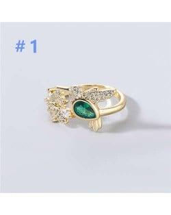 U.S and European Rhinestone Inlaid Geometric Minimalist Design Women Wholesale Costume Ring - Design 1