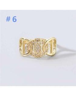 U.S and European Rhinestone Inlaid Geometric Minimalist Design Women Wholesale Costume Ring - Design 6