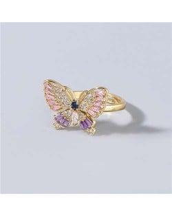 Super Shining Rhinestone Embellished Gorgeous Butterfly High Fashion Women Wholesale Costume Ring - Pink